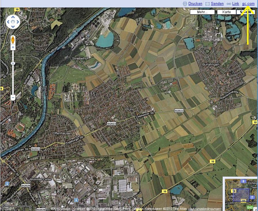 Bei maps.google.de ist ein Link auf gc.com