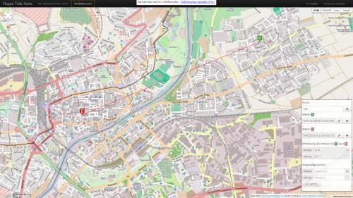 Karte für Wegpunktprojektion, Koordinaten und Abstand