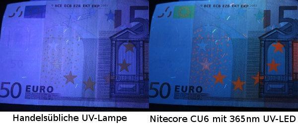 UV Licht Vergleich