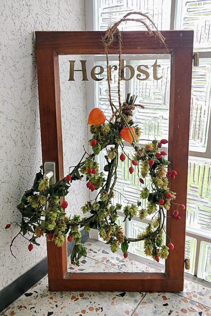 Fensterscheibe Plotter Pflanzen Herbstdeko DIY