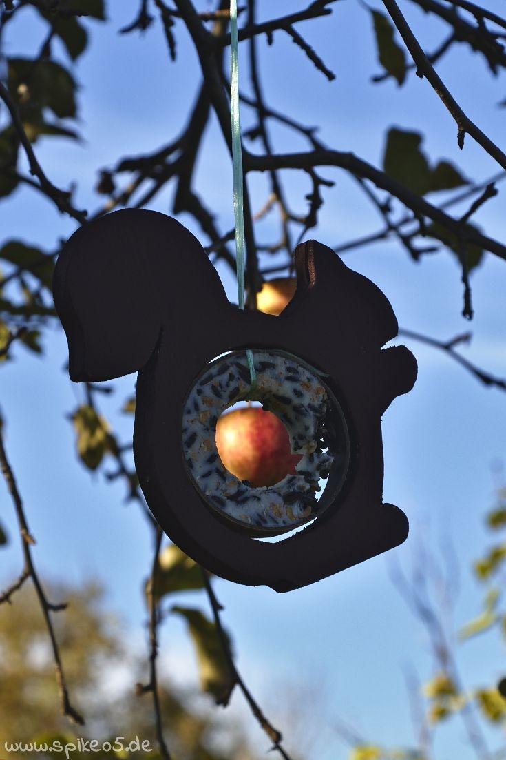 Futterstation Eichhörchnen Apfel Meisenknödelhalter DIY selber machen