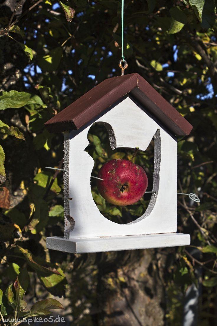 Futterstation Vogelhaus Apfel Meisenknödelhalter DIY selber machen