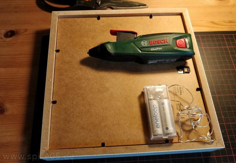 3D Bilderrahmen Heißkleber Batteriebox