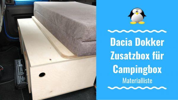 Dacia Dokker Zusatzbox für Campingbox – Materialliste