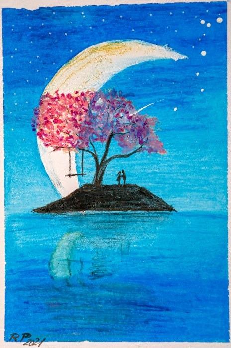 Bild Ramona Baum Mond Insel